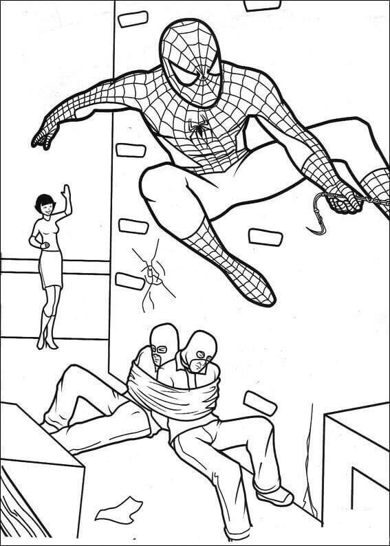 Spiderman Saving The Day Coloring Page