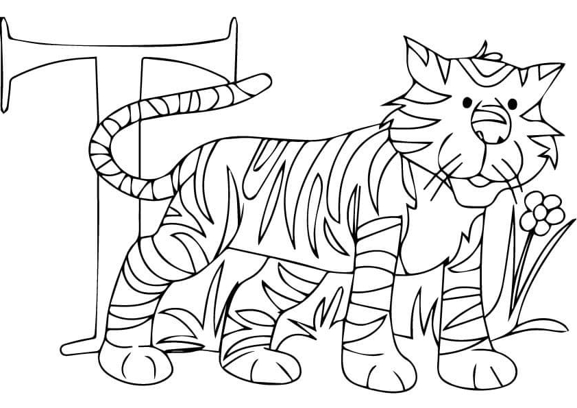 T for Tiger coloring page