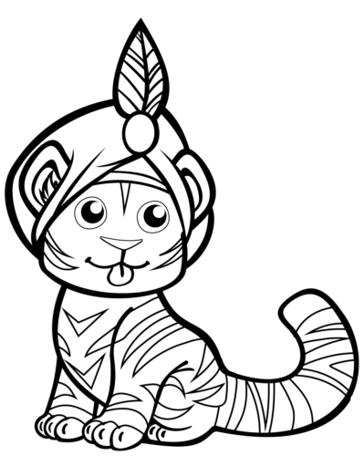 Tiger In Turban coloring page
