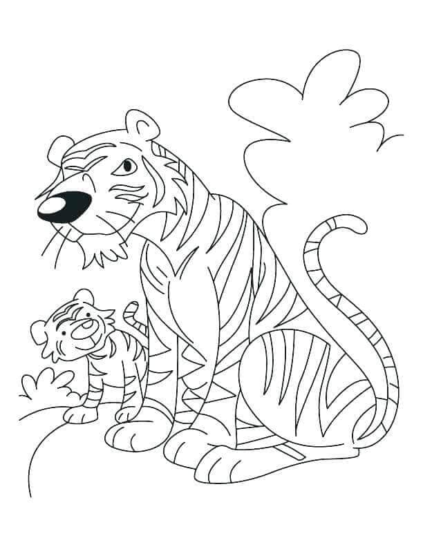 Tiger and Cub coloring page