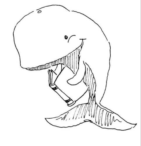 Whale Reading Book coloring page
