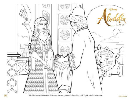 Aladdin And Jasmine Colouring Page