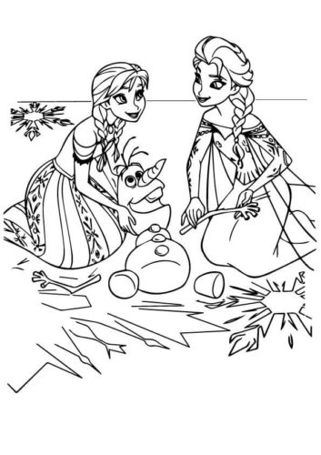Anna And Elsa With Olaf Coloring Page