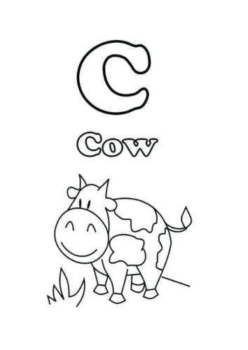C For Cow Coloring Page