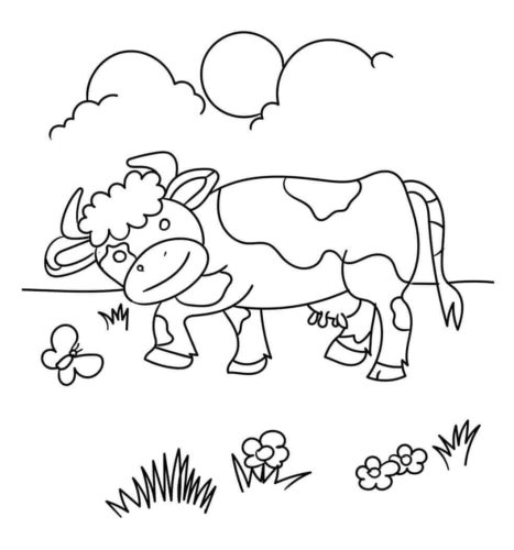 Cow In The Field Coloring Page