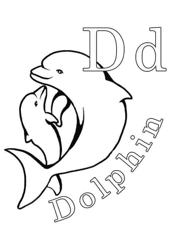 D For Dolphin Coloring Page
