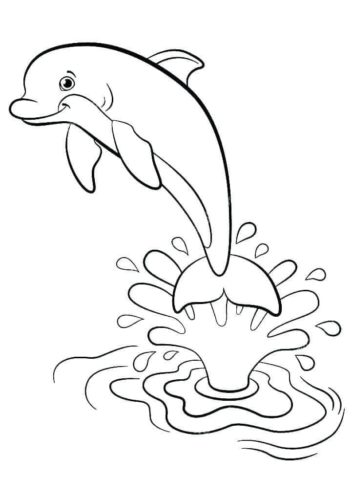 Dolphin Diving Coloring Page