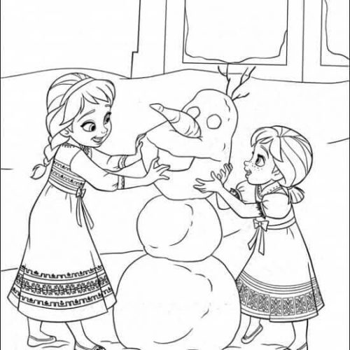 Elsa And Anna Making Olaf