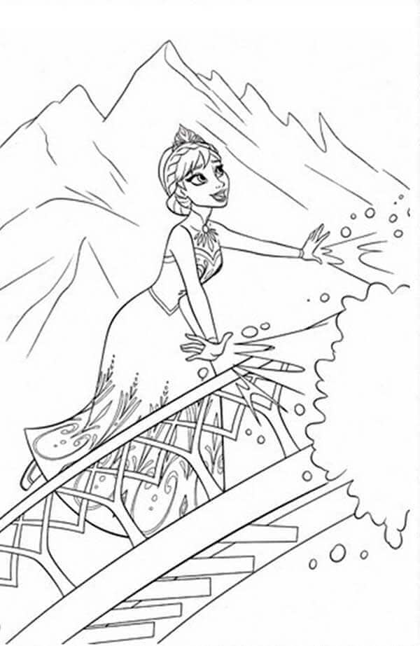 Elsa Making Snow Coloring Page