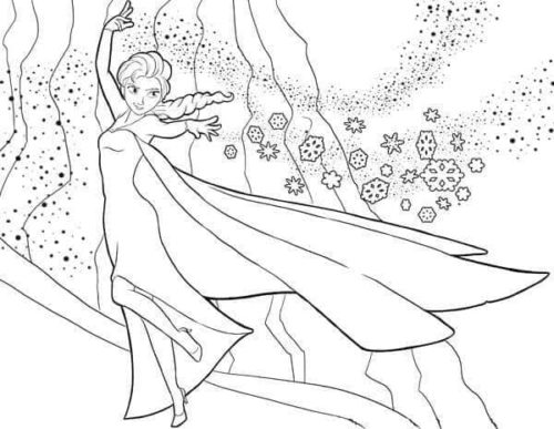 Elsa Showing Her Powers Coloring Page