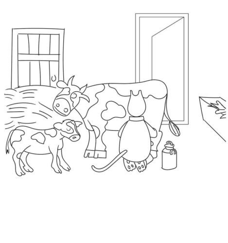 Farmer Milking Cow Coloring Page