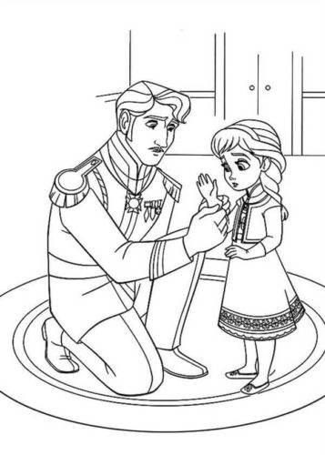 King Arendelle Putting Gloves to Young Elsa