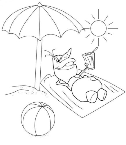 Olaf Enjoying Summer Coloring Page