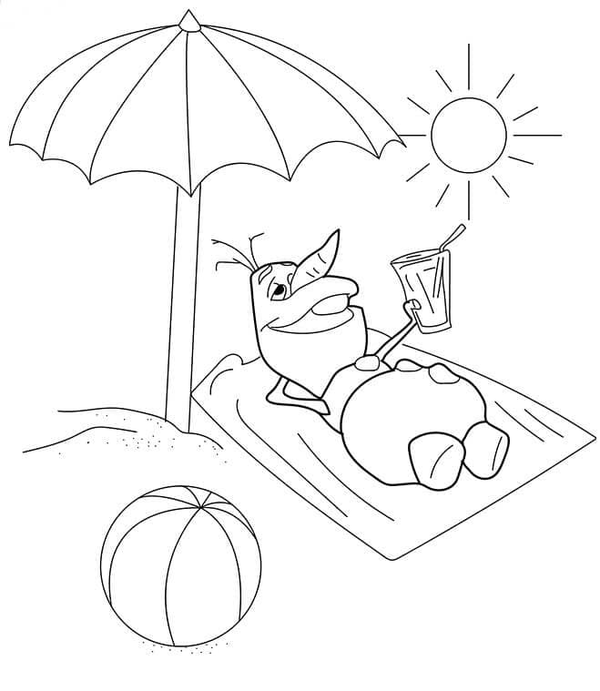 Olaf Enjoying Summer Coloring Page