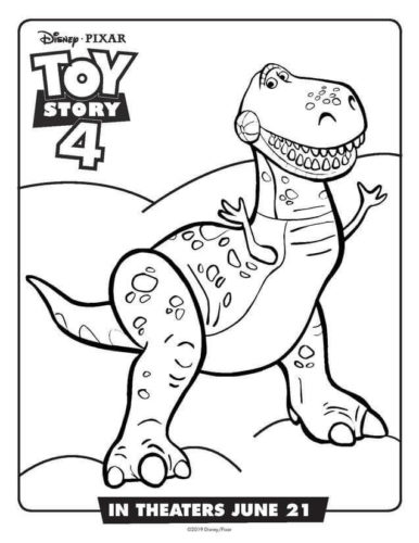 Rex From Toy Story 4 Colouring Page