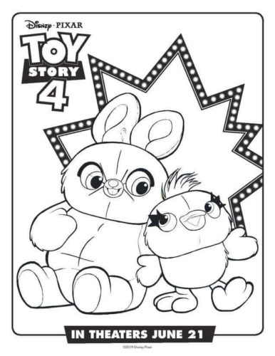 Toy Story 4 Ducky And Bunny Coloring Page