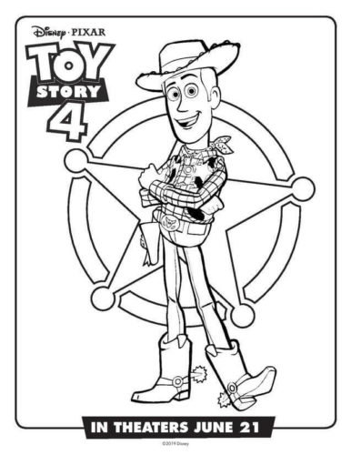 Woody Toy Story 4 Coloring Page