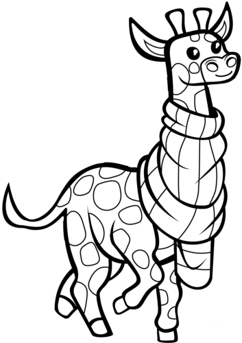 Cartoon Giraffe Coloring Page