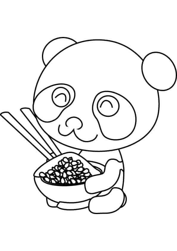 Cute Panda With Dinner