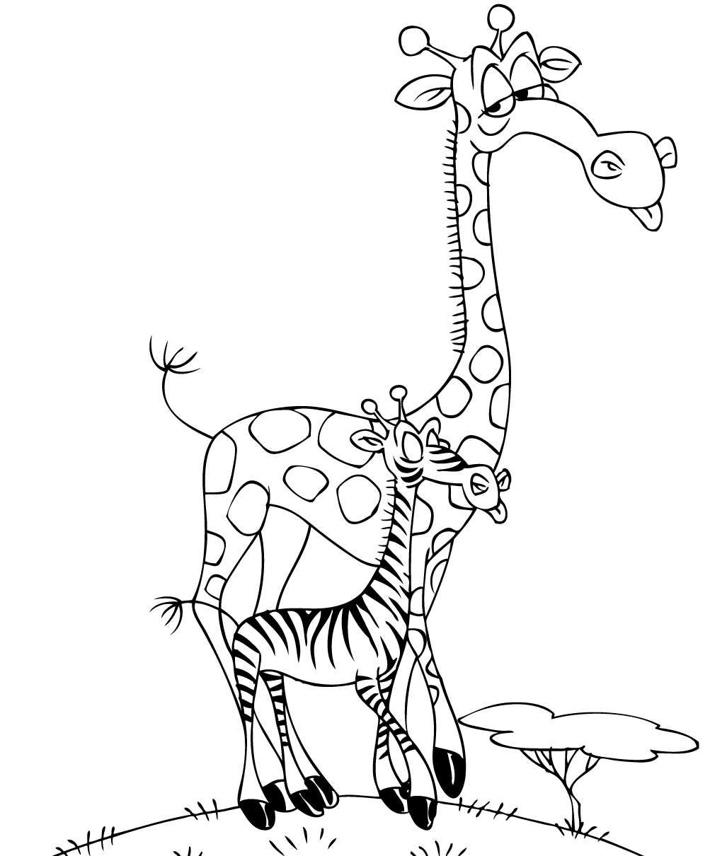 Giraffe And Zebra Coloring Page