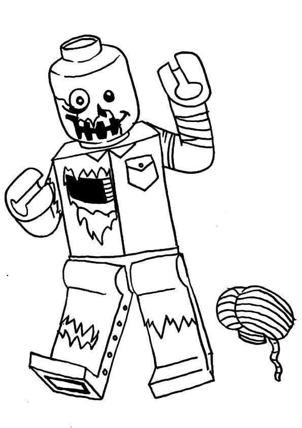 Lego Zombie Coloring Page