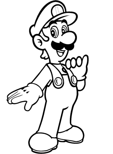 Luigi from Mario Bros coloring page