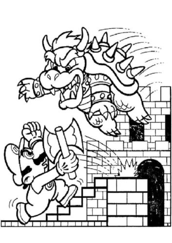 Mario And Bowser Coloring Page