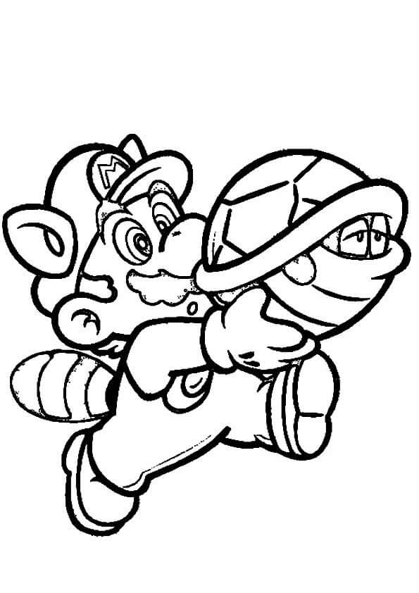 Mario And Koopa Troopa Coloring Page