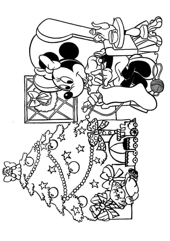 Minnie Mouse Christmas Coloring Page