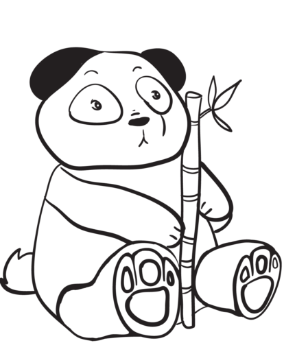 Surprised Panda Coloring Page