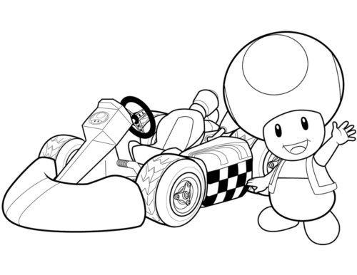 Toad Mario Kart Coloring Page