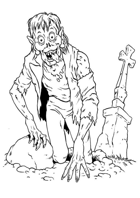 Zombie Near Grave Coloring Page