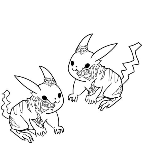 Zombie Pikachu Coloring Page