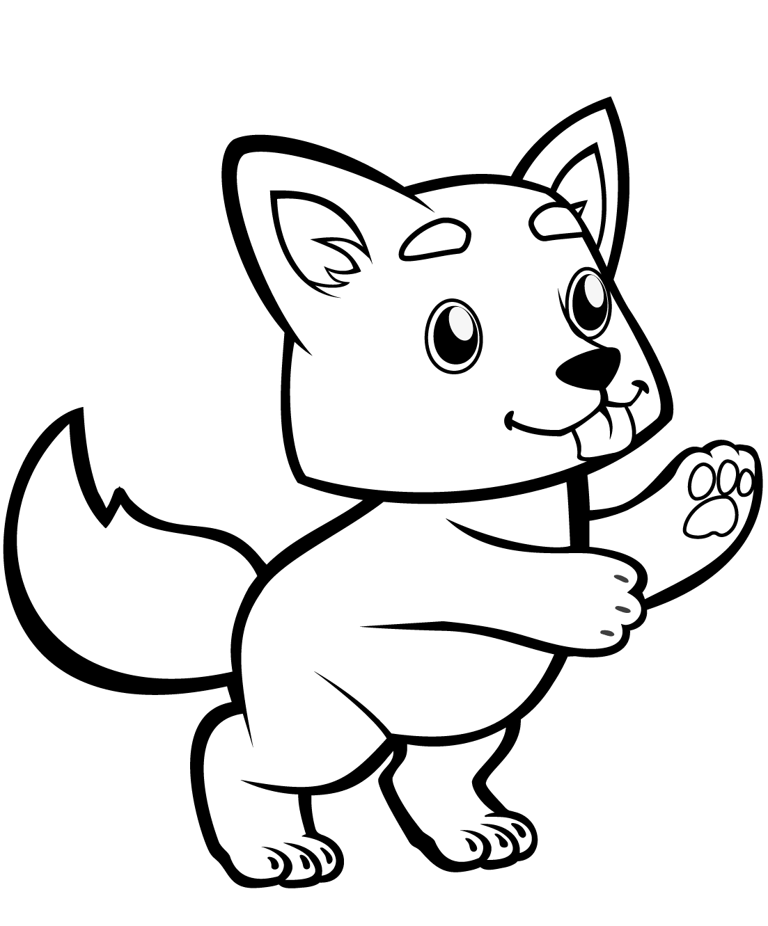 Волчонок картинка для детей раскраска