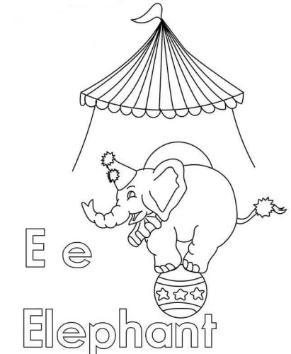 E For Elephant Coloring Page