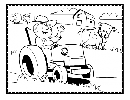 Easy Farm Coloring Page