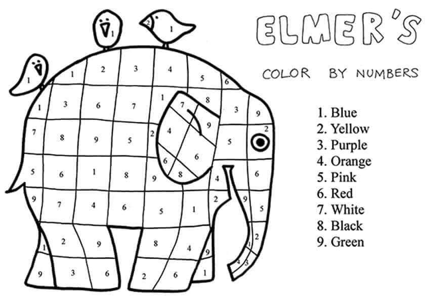 Elephant Coloring By Number Activity Sheet