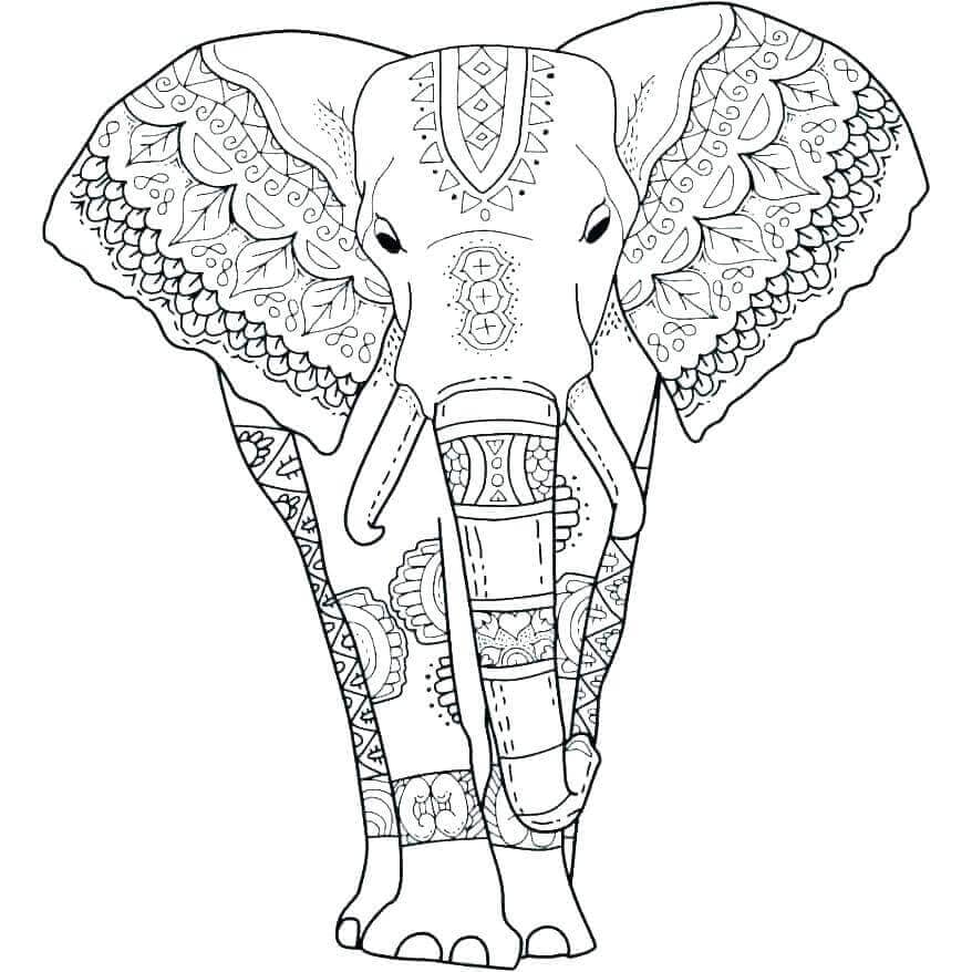 Elephant Coloring Pages For Adults