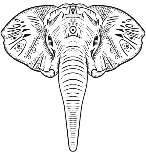 Elephant Head Coloring Page