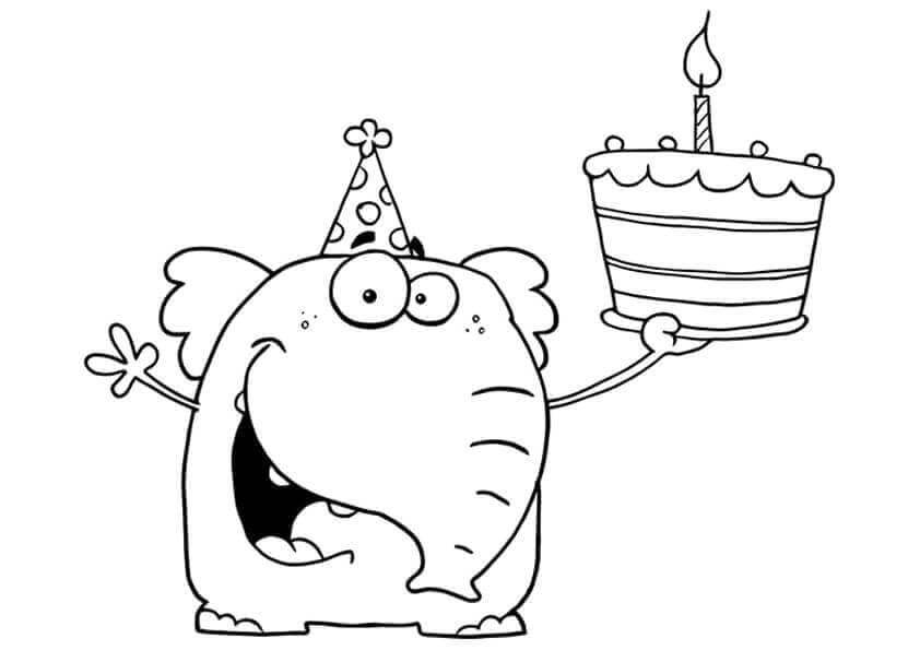 Elephant With A Cake