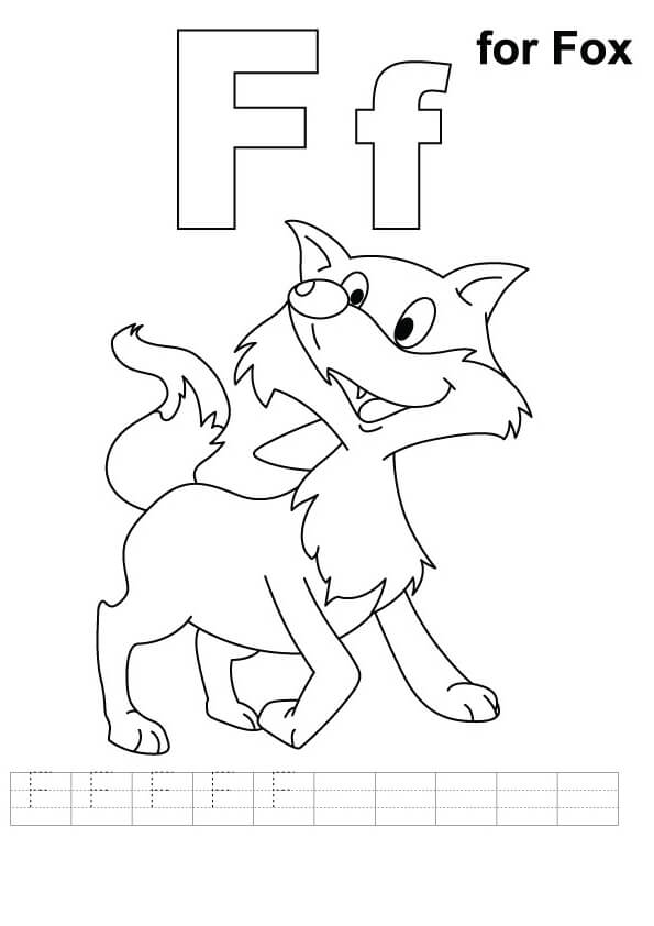 F For Fox Coloring Page