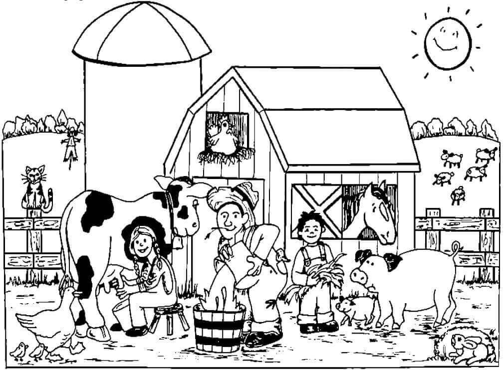 Farm Scene Coloring Page