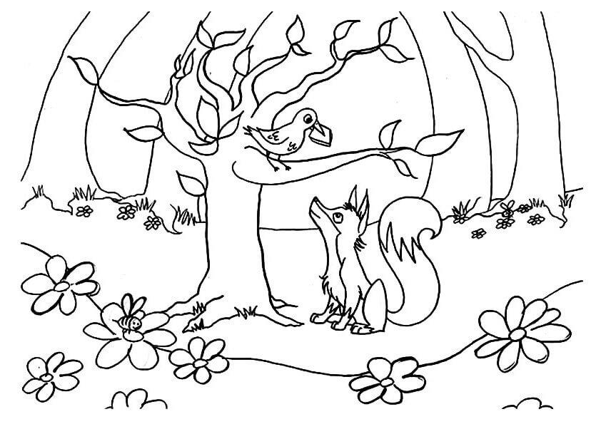 картинка сказки лиса и ворона черно белая такие яркие проекты