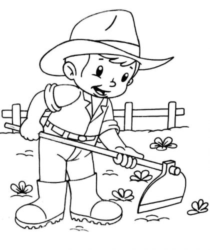 Little Farmer coloring page