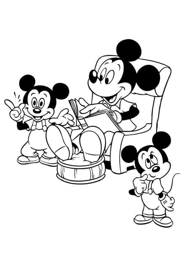 Mickey Mouse Reading To His Kids