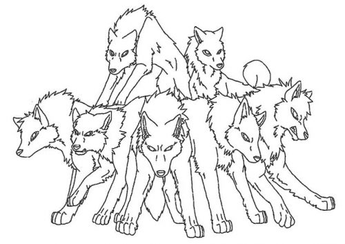 Pack of Wolves Coloring Pages