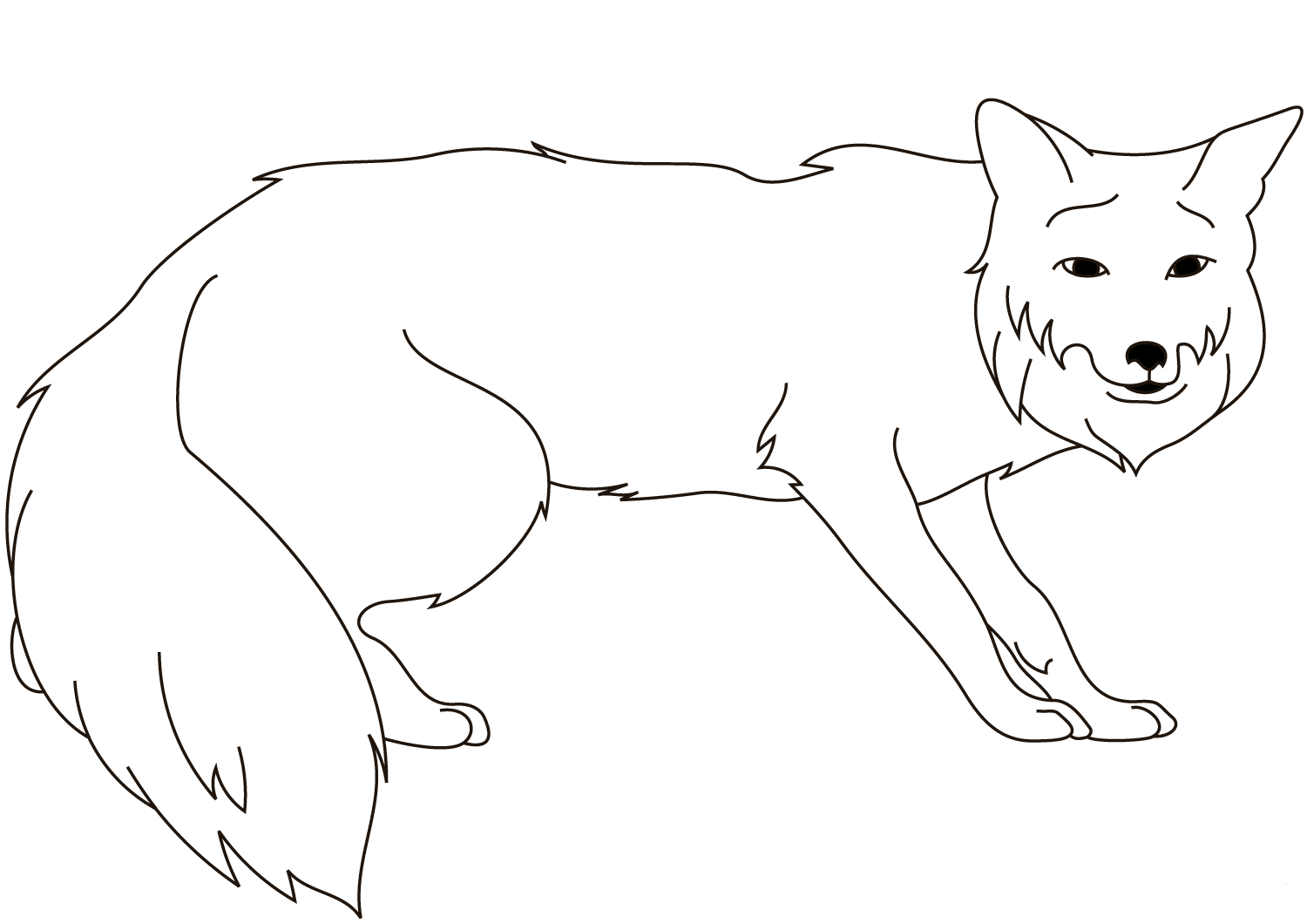 Red Fox Coloring Page For Preschoolers