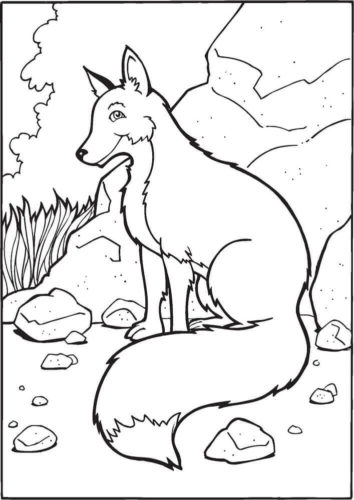 Smiling Fox Coloring Page