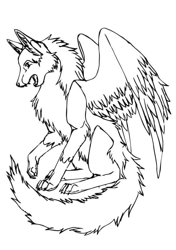 Wolf With Wings Coloring Page