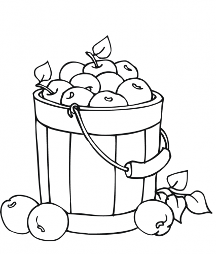 A Basket Of Apples Coloring Page